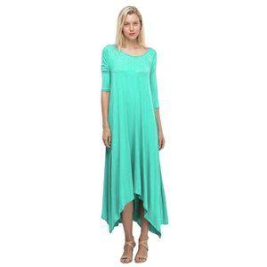 Green Drape Asymmetrical Dress Jersey Handkerchief